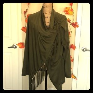 Tops - Olive green wrap around shirt
